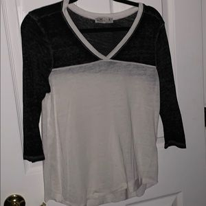 Grey and White 3/4 Sleeve Baseball Tee